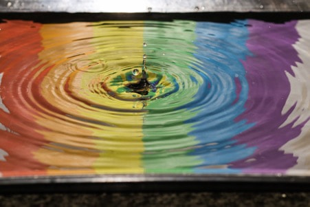 image of rainbow colours on water