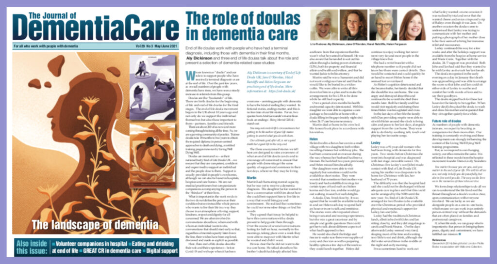 Screengrab of article from Journal of Dementia Care, about End of Life Doula UK